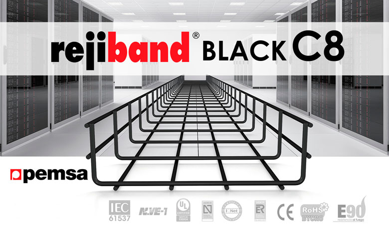 Pemsa have the most appropriate wire mesh tray for Data Centers, rejiband® BLACK C8
